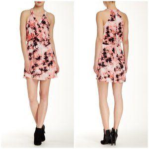 Parker Kita pink palm tree print silk dress sz med